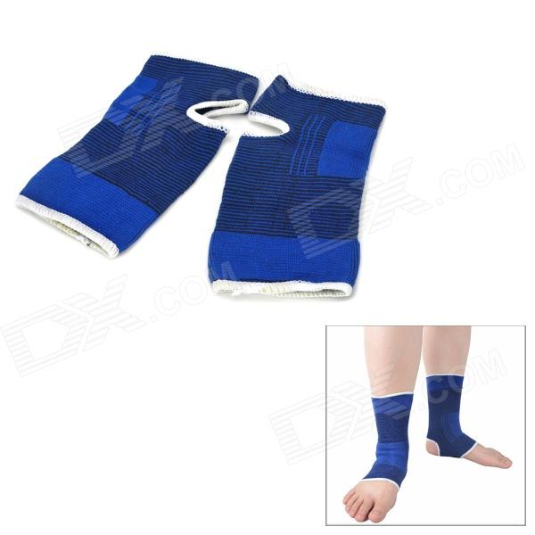 Outdoor Sports Terylene Elastic Ankle Support - Deep Blue + Black (2 PCS)