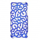 Protective Hollow-Out Flower Style Plastic Back Case for Iphone 5 - Dark Blue