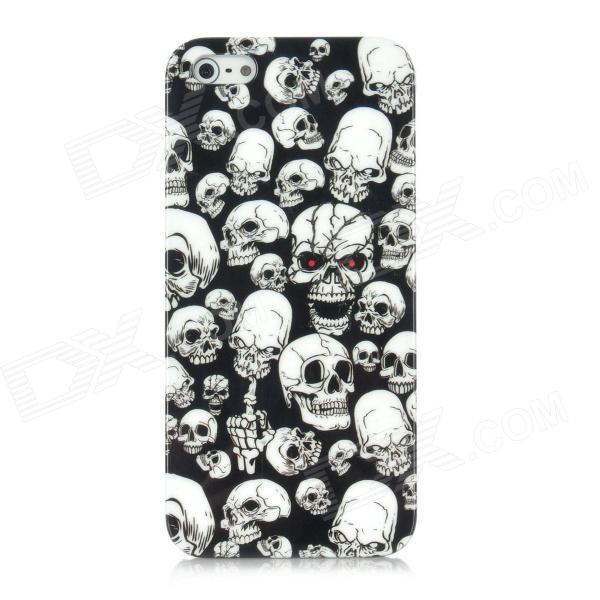 Skull Pattern Protective Plastic Case w/ Screen Protector for Iphone 5 - Black + White пленка защитная red line для iphone 4 дерево