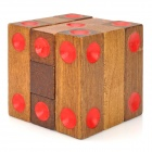 Educational Wooden Dice Pile-up Puzzle Brick Toy - Brown + Red