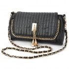 Fashion Lady's PU Leather Waterproof One Shoulder Bag - Black