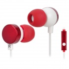 Kanen IP-608 Stylish In-Ear Earphones w/ Microphone / Clip - Red + White (3.5mm Plug / 120cm)