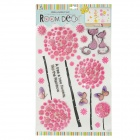 KK009 Dandelion Pattern 3D Multi-Layer Embellishment Sticker - Black + Pink