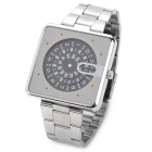 Rotary Style Fashion Man's Stainless Steel Quartz Digital Waterproof Wrist Watch - Black + Silver