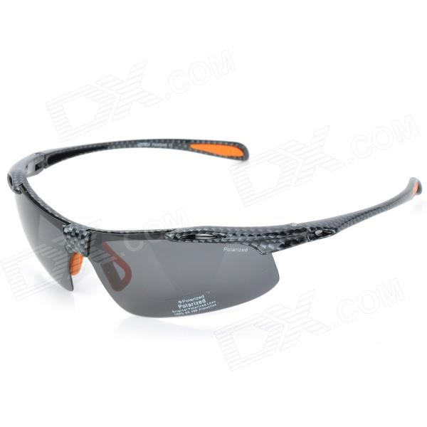 CARSHIRO 9150 Sports Riding Resin Lens Polarized Sunglasses - Black Grey carshiro 510 men s clip on resin lens uv400 protection polarized sunglasses grey