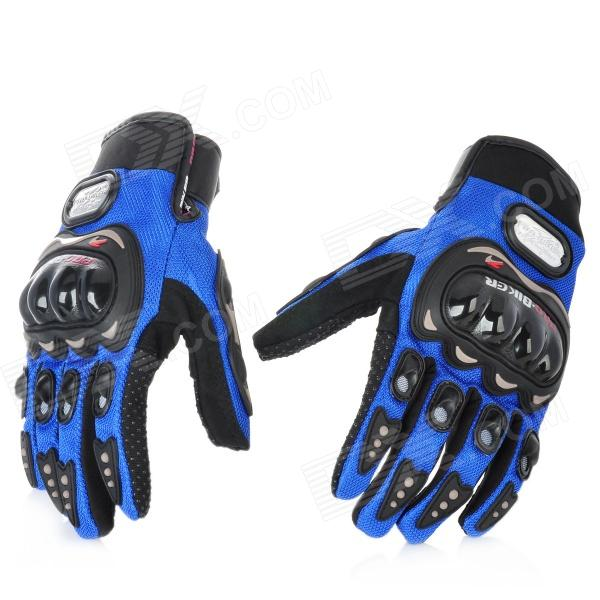 PRO-BIKER MCS-01A Motorcycle Racing Full-Finger Protective Gloves - Blue + Black (Size L / Pair) universal nylon cell phone holster blue black size l