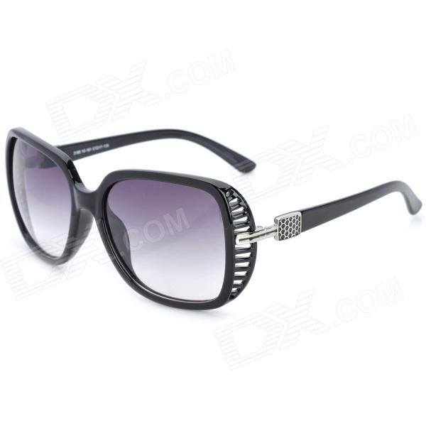 Fashion Grey Resin Lens Sunglasses Goggles for Women - Black