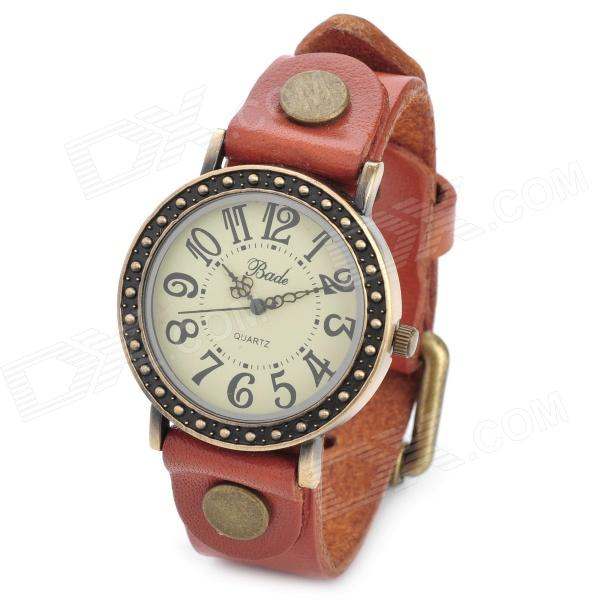 Retro Rome Style Lady's PU Band Quartz Analog Waterproof Wrist Watch - Orange (1 x 377) split leather band analog quartz watch handwork retro style bracelet for women 1 x ag4