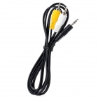 3.5mm Male to RCA Male AV Cable for DVR / GPS / TV - Black + Yellow + White (120cm)