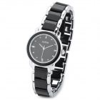 Kimio KL-455 Fashion Lady's Zinc Alloy Quartz Analog Waterproof Wrist Watch - Black + Silver