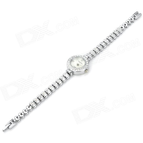 Fashion Lady's Zinc Alloy Band Quartz Analog Rhinestone Waterproof Wrist Watch - Silver (1 x 377)