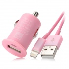 USB Car Charger w/ Lightning Data & Charging Cable Set for iPhone 5 - Pink
