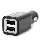 Dual USB cigarro 3.1A Powered Car Charger Adaptador para Mini iPad / Samsung P1000 - Preto