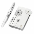 2-in-1 Hand-drawn Art Style Pen + Card Case Set - White
