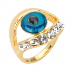 Zinc Alloy Blue Eye Decorated Rhinestone Finger Ring (Inner Diameter 17mm)