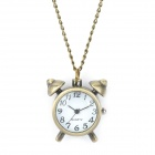 Retro Alarm Clock Style Analog Quartz Pocket Watch with Chains (1 x 377)