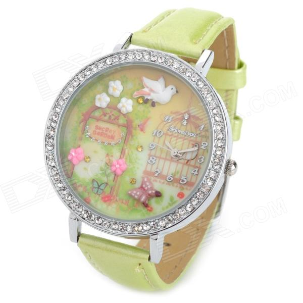 Bird & Flower Pattern Girl's PU Band Quartz Analog Waterproof Wrist Watch - Light Green + Silver