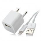 USB Data & Charging 8-pin Blitz Cable + EU Plug Power Adapter für iPhone 5 Stellen - White