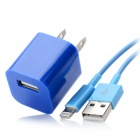 AC Power Adapter Charger + USB Sync Data / Charging Lightning Cable Set for iPhone 5 - Blue