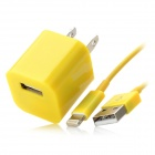 AC Power Adapter Charger + USB Sync Data / Charging Lightning Cable Set for iPhone 5 - Yellow