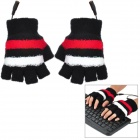 Causal Stripe Style USB Heated Half-Finger Warm Gloves for Women - Black + Red + White