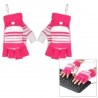 Causal Stripe Style USB Heated Half-Finger Warm Gloves - Deep Pink + White