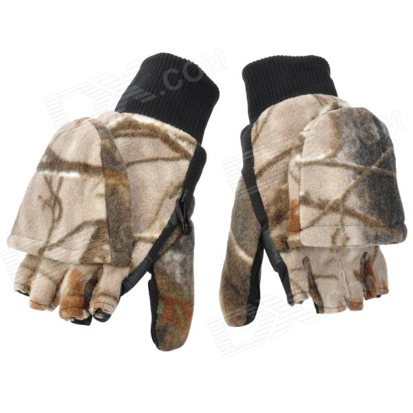 Warm Keeping Winter Half Fingers Fleeces Gloves with Cap - Camouflage (Pair) сказки 1