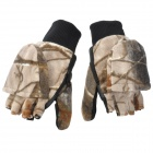 Warm Keeping Winter Half Fingers Fleeces Gloves with Cap - Camouflage (Pair)