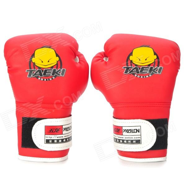 WOLONG Cute Pattern Kid's PU Training Boxing Gloves - Red + White (Pair) pu leather usa boxing gloves with american flag pair