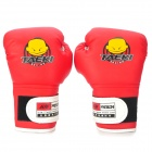 WOLONG Cute Pattern Kid's PU Training Boxing Gloves - Red + White (Pair)