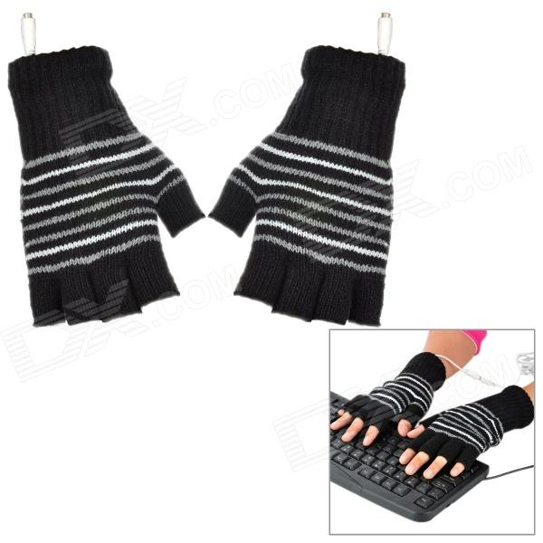 Causal Stripe Style USB Heated Half-Finger Warm Gloves - Black + Grey + White