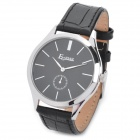 EGNIAN EG-0910 Fashion Mannes Genuine Leather Band Quartz Analog Wasserdicht Armbanduhr - Schwarz