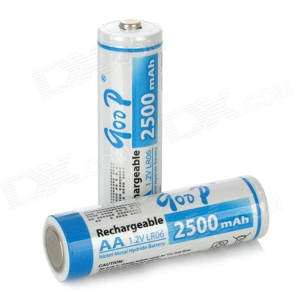 Qoop Rechargeable 1.2V 2500mAh AA NI-MH Batteries - Blue + White (2PCS) electric drill battery 18v 2500mah ni mh cd for bosch bat025 bat026 bat160 bat180 bat181 bat189 2 610 909 020 2 5ah battery