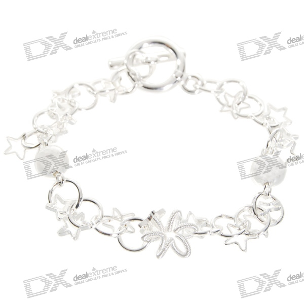 925 Sterling Silver Plated Stars Bracelet (17.5cm) sterling silver ear thread