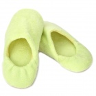 Cute Household Coral Fabric Cotton Warmer Shoes - Light Green (Size L)