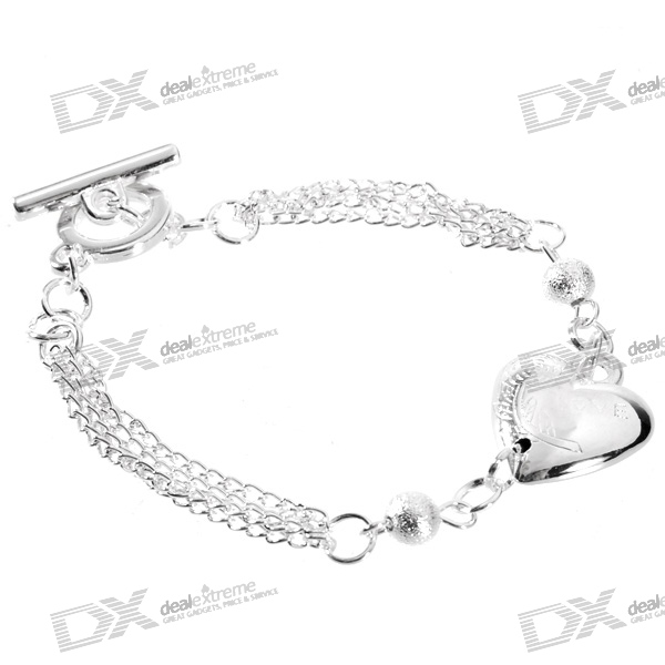 925 Sterling Silver Plated Heart Bracelet (18.5cm)