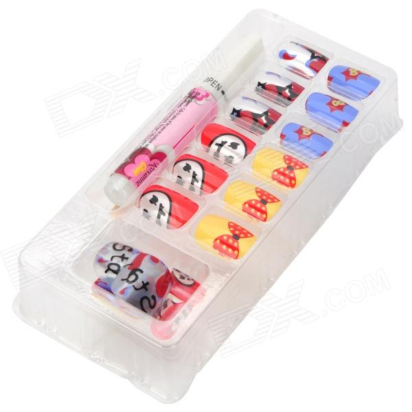 ZX-118 Art Design Bow Knot + Smile Pattern Decorative False Nail Tips - Colorful (24 PCS) bz2026 art design rose pattern decorative false nail tips black white 24 pcs