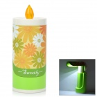 Candle Style Portable Folding 2-Way 15-LED White / Yellow Eye Protection Mood Night Light - Green
