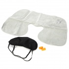 3-in-1 Comfortable Pillow + Blinder + Earplug Travel Set - Black + Grey + Orange