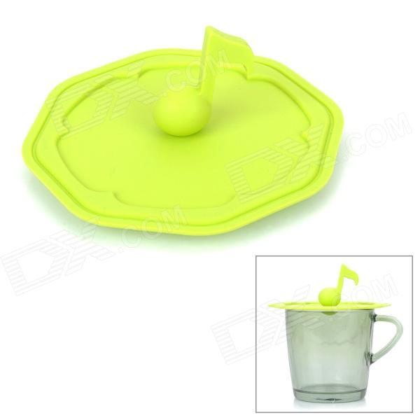 WL007 Creative Musical Note Style Silicone Mug Cup Cover Lid - Green creative 100 euro note style door stopper guard green white