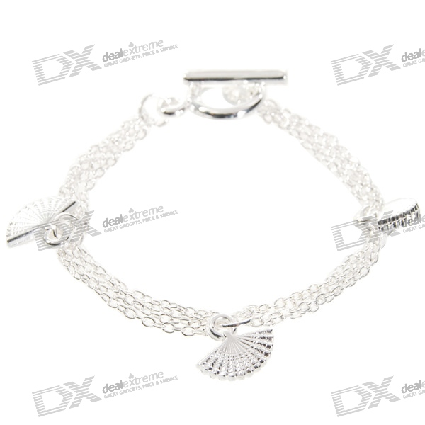 925 Sterling Silver Plated Fans Bracelet (17.5cm) sterling silver ear thread