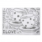 Jiaming JM8267 Coffee Cup Pattern PVC Paper Sticker - White + Black (50 x 70cm)