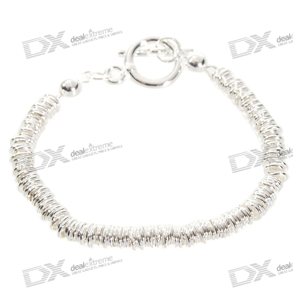 925 Sterling Silver Plated Rings Bracelet (18.5cm) sterling silver ear thread