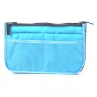 Dual-Zippered Multi-Compartments Mesh Bag Organizer - Light Blue