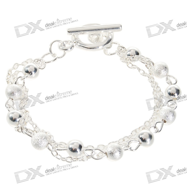 купить 925 Sterling Silver Plated Beads Bracelet (17cm) недорого