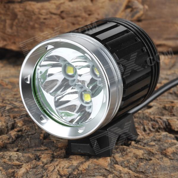 3000lm 4-Mode White Bike Light - Black + Silver (4 x 18650)