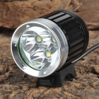 Cree XM-L T6 3000lm 4-Mode White Bike Light - Black + Silver (4 x 18650)