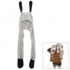 Cute Rabbit Pattern 3-in-1 Soft Plush Warmer Scarf Glove Cap Set - Grey + Black