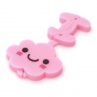 Cute Smile Cloud ABS + Soft Rubber Earphone Cable Winder - Pink