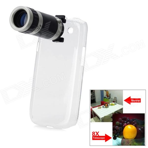 8x Zoom Telescope Lens w/ Back Transparent Case for Samsung Galaxy S3 9300 - Black + Silver replacement back camera circle lens for samsung galaxy s5 g900 black